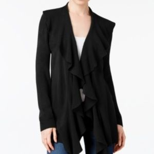 Karen Scott Large Lux Soft Ruffled Cardigan Black